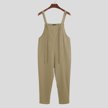 Mens Brief Solid Color Muff Pocket Jumpsuits