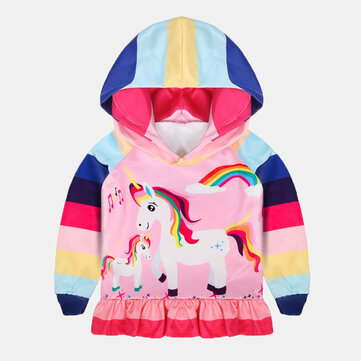 Girl's Unicorn Print Striped Hoodie For 3-11Y
