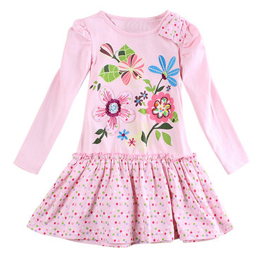 Girl's Flower Embroidery Dress For 2-9Y