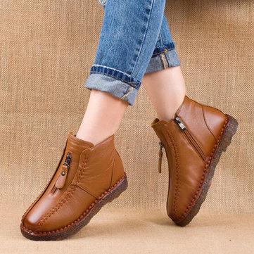 Soft Round Toe Flat Ankle Boots