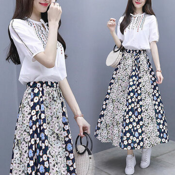 New Women's Two-piece High Waist Long Dress Female Embroidery Short-sleeved Stitching Floral Dress Set