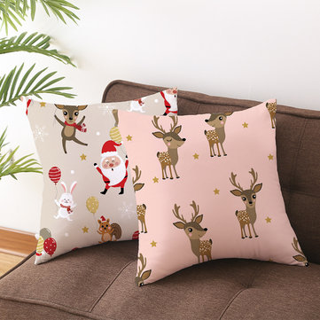 Cartoon Animals Christmas Linen Throw Pillow Case