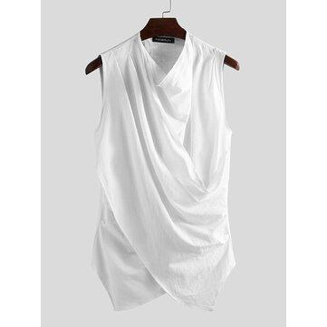 Irregular Wrinkle Sleeveless T-Shirts