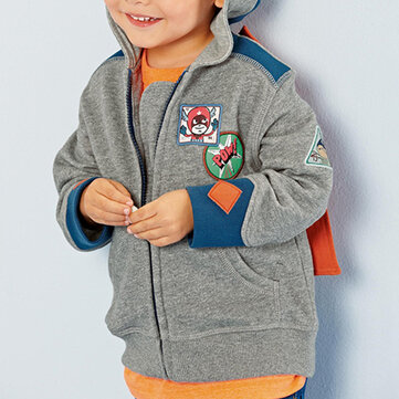 Toddler Boy Cartoon Hooded Coat For 1-9Y