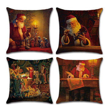 Christmas Santa Claus Pattern Linen Cushion Cover