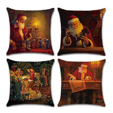 Weihnachtsmann Muster Leinen Kissenbezug