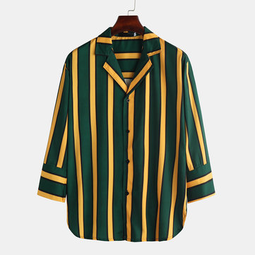 Mens Brief Style Stripe Hit Color Shirts
