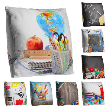 Double-sided Back to School Theme Throw Pillowcases