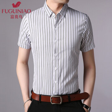 Fugui Bird Summer Men's Short Sleeve Shirt Korean Slim Men's Business Casual Shirt Handsome Trend Half Sleeve