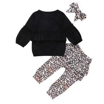 Girl's Leopard Print Casual Set For 1-5Y