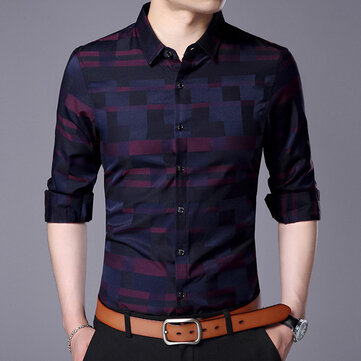 Factory Direct 2019 Spring New Youth Men's Casual Printing Plaid Long-sleeved Shirt Men's Men's Shirt