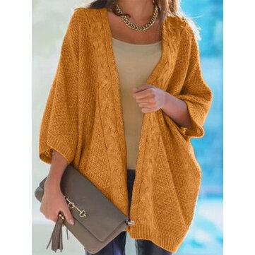 आरामदायक ठोस रंग बुनना ढीला स्वेटर
