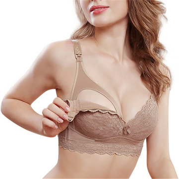 Plus Size Lace Maternity Wireless Nursing Bra