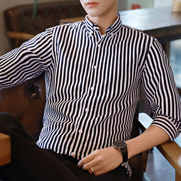 Urban Casual Shirt Male Summer Short-sleeved Shirt Men's Seven-point Sleeve Striped Shirt Fashion Trend Inch Clothing Men's Clothing