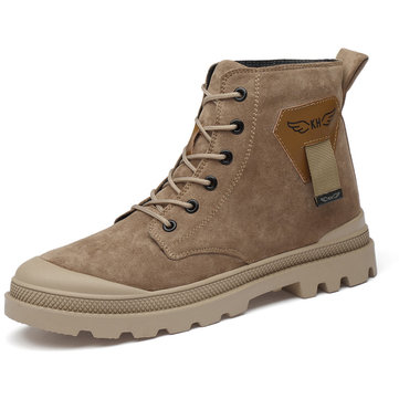 Men Leather Non-slip Casual Tooling Boots