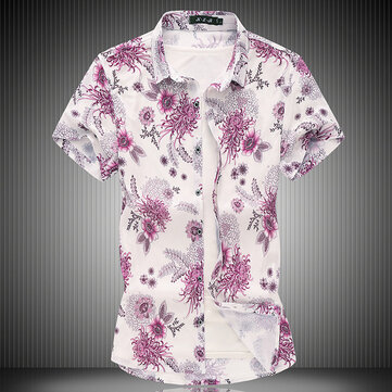 Cross-border Summer Foreign Trade Men's Short-sleeved Flower Shirt Fashion Large Size Square Collar Shirt Men's Bottoming Shirt