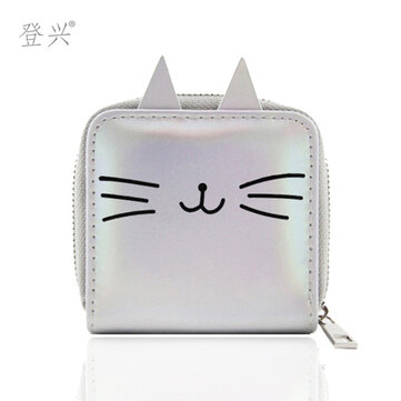 New Cartoon Cat Short Pu Student Small Wallet Laser Wallet Children's Bag Card Deng Xing