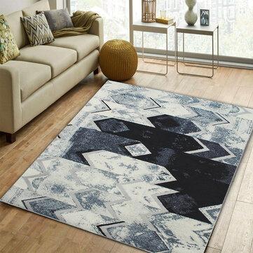 سجادة أرضية حديثة باللون الأسود والرمادي والفضي لغرفة المعيشة وغرفة النوم