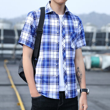 2019 Summer New Men's Short-sleeved Plaid Shirt Business Casual Shirt Youth Handsome Wild Trend Cardigan