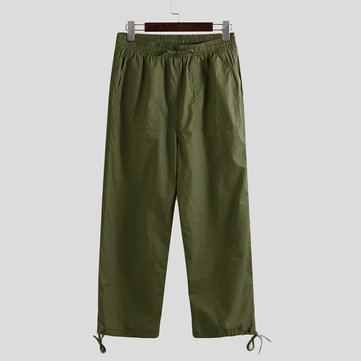 Mens Solid Ankle-Tied Pants