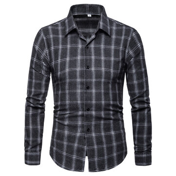 Foreign Trade Spring New Men's Casual Plaid Shirt Men's Self-cultivation British Wind Large Size Long-sleeved Shirt