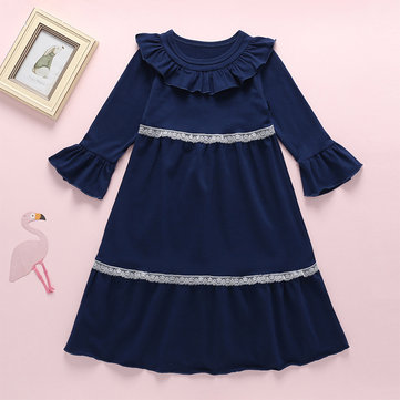 Girl's Lace Collar Dress For 3-11Y
