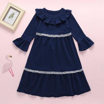 Mädchen Spitzenkragen Kleid Für 3-11Y