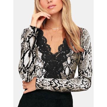 Lace Floral Long Sleeve V-neck Blouse