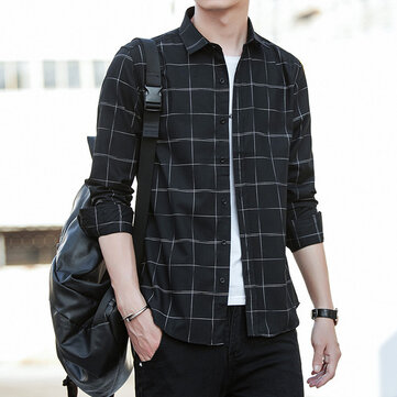 Men's Plaid Long Sleeve Shirt 2019 Spring Men's Shirt New Korean Casual Fashion Trend Shirt Men's Wear