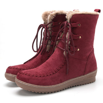 Suede Plush Lined Stitching Flat Boots