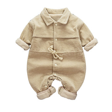Baby Plus Velvet Corduroy Rompers For 0-24M