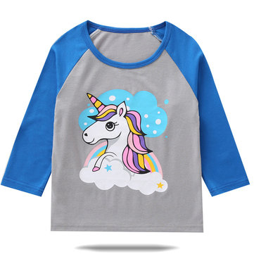 Toddler Unicorn Print Tops For 1-57Y
