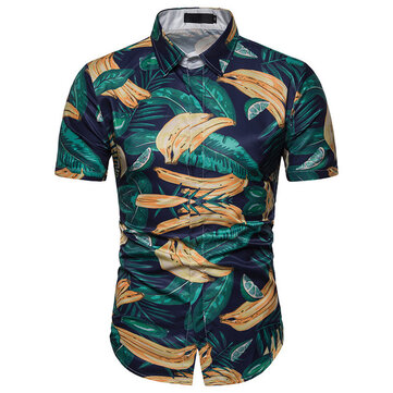 Cross-border Supply 2019 Summer Men's 3D Casual Beach Flower Shirt Hawaiian Short-sleeved Shirt C11