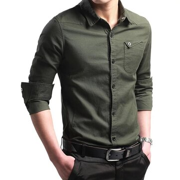 New Men's Cotton Long-sleeved Shirt Sports Casual European Version Of The Korean Version Of The Self-cultivation Youth Men's Shirt Military Travel Wind