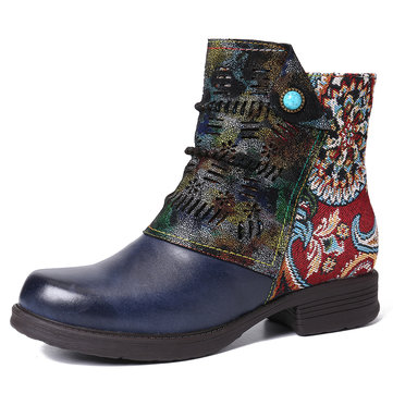 Retro Leather Splicing Fancy Pattern Boots