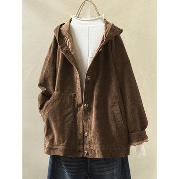 Vintage Corduroy Hooded Jacket