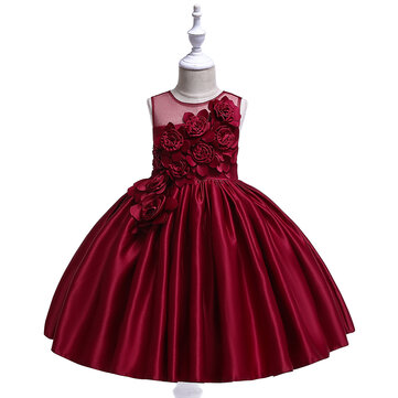 Girl's Flower Formal Kleid Für 4-13J