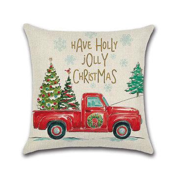 Retro Weihnachten Schneemann Muster Leinen Kissenbezug