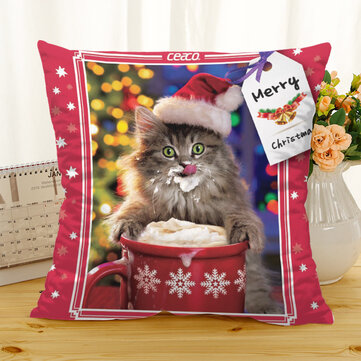 Retro Christmas Cat Cotton Linen Cushion Cover