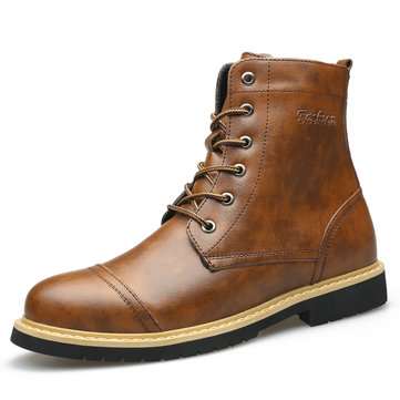 Men Retro Leather Non Slip Casual Boots