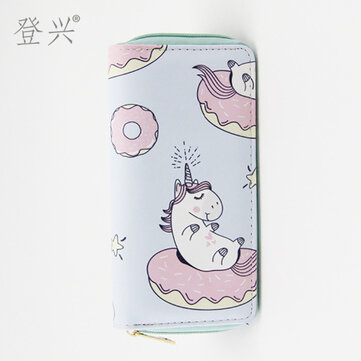 New Cute Unicorn Pu Long Wallet Student Card Package Female To Map