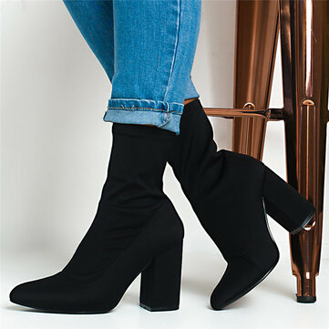 Black Solid Color CHunky Heel Sock Boots