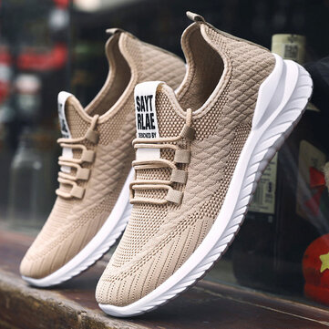 Men Knitted Fabric Casual Running Sneakers