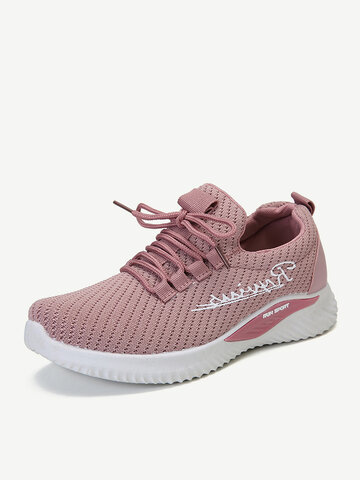Mesh Lace Up Casual Sport Shoes