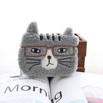 Damen Beiläufige Katze Muster-Handtaschen-Zugschnur-kosmetische Reise