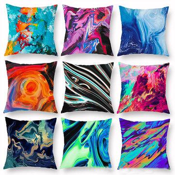 Fodera per cuscino in peluche stampato stile astratto colorato INS