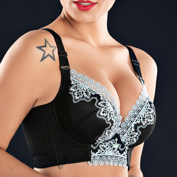 Wireless Lace Patchwork Gather Bras