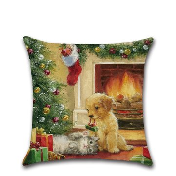 Retro Christmas Santa Doggy Linen Throw Pillow Case