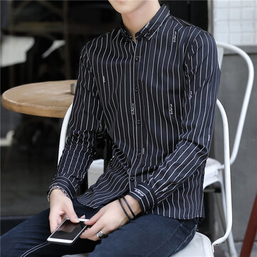 Long Sleeve Shirt Men's Autumn New Fashion Stand Collar Cardigan Stripe Clothes Youth Korean Trend Slim Shirt Men