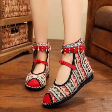 Cloth Beading Buckle Flats